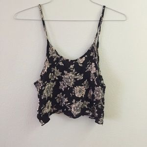 Black and white floral Brandy Melville tank top