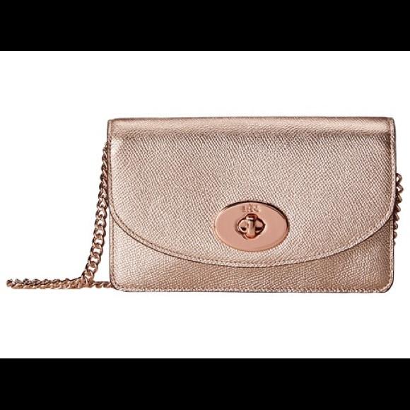 275ebe02e963 Coach Handbags - COACH Metallic Rose Gold Leather Crossbody