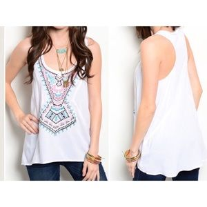 Tops - Embroidered front T-tank cute XS S L