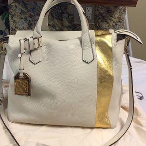 Reed Krakoff Handbags - Reed Krakoff White n gold pebbled leather satchel