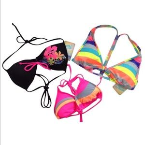 Hobie Other - NEW HOBIE bra top halter florescent black stripe M