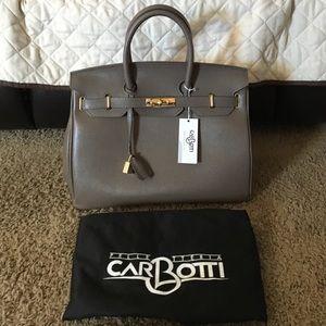 used hermes birkin bag for sale - Carbotti - BIRKIN STYLE 40CM BLACK LEATHER BAG W/LOCK from ...