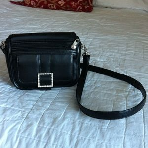 Handbags - Black Mini Shoulderbag w/Rhinestone Buckle