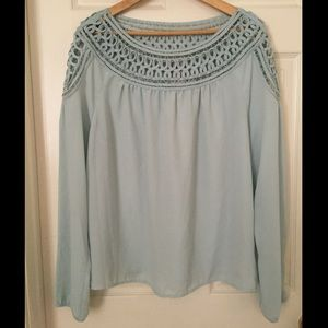 Forever 21 contemporary blue chiffon macrame top L