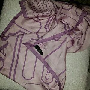 New Lg. Coach Purple/Lavender Silk Scarf Great Con