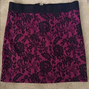 Divided by H&M pink black lace floral mini skirt