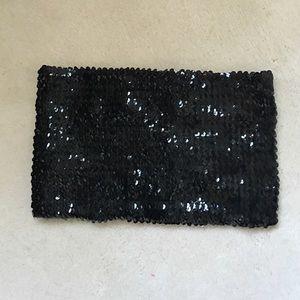 Black Sequin Bandeau Top