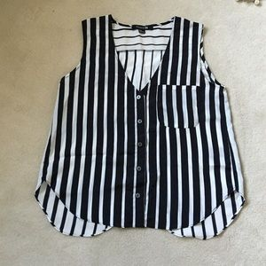 NWOT F21 Black & White Striped Sleeveless Top