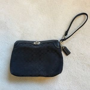 Black Coach Wristlet Pouch Clutch