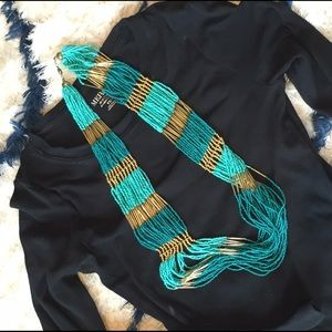 Gold and Turquoise Bead Statement Necklace
