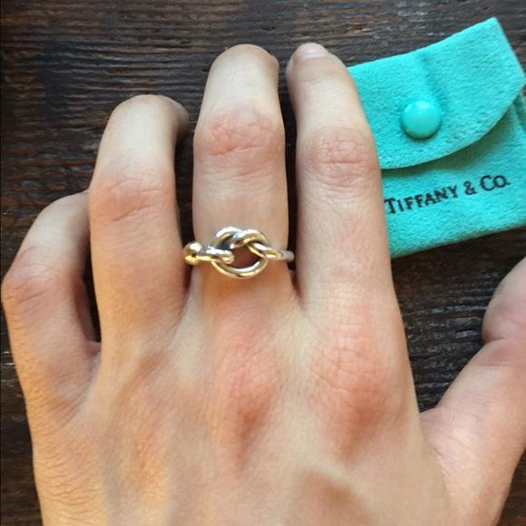 07300ba01c00e TIFFANY & CO Love Knot Ring SS & 18k Gold
