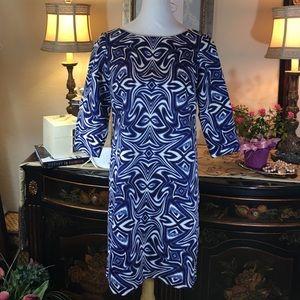 Taylor Dresses & Skirts - Taylor Indigo Blue Chic Abstract Print Dress💙