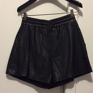 Helmut Lang leather shorts with drawstring