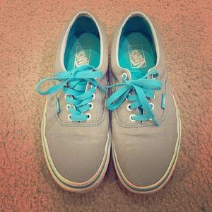 Vans Shoes | Grey Turquoise Vans | Poshmark