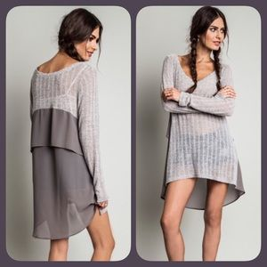 ❗️COMING TUES❗️ Gray Light Knit High Low Tunic