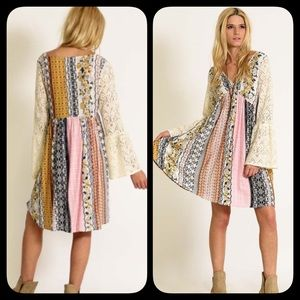 ❗️COMING TUES❗️ Lace Sleeve Patchwork Boho Dress