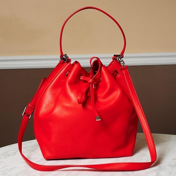 cd113579c806 Tory Burch Red Leather Drawstring Bucket Bag. M 56b6ba2a4e8d177b9701248f