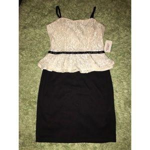 Formal black and white dress
