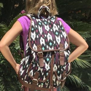 Handbags - School, Gym, Travel Mint and Magenta Print w Brown