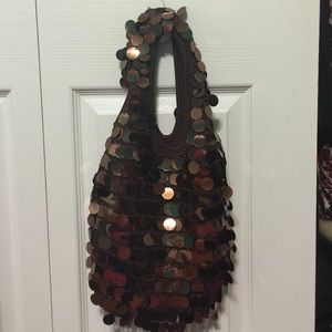 Handbags - Sequin brown mini purse