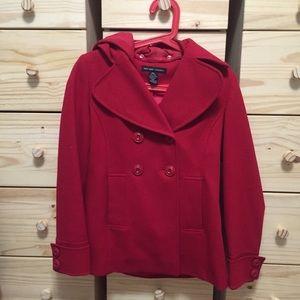 Red Hooded Wool Coat
