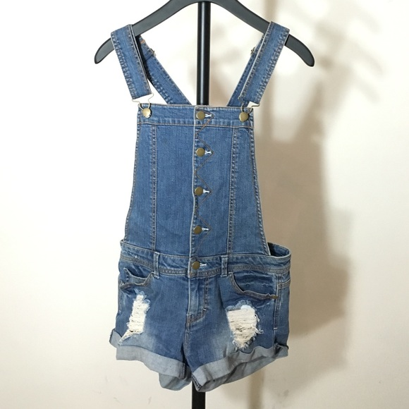 Forever 21 Pants - Forever 21 Distressed Shortalls Small