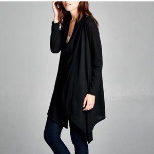Coy mistress drape front cardigan black