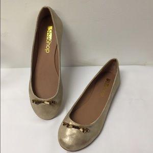 ShuShop Shoes - ShuShop Gold Ballet Flats Gold Metal Bow