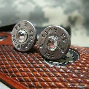 Jewelry - 45 caliber bullet stud earrings silver pink