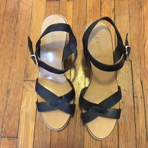 J. Crew Leather and Canvas Wedge Sandals