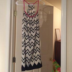 NWOT Glam Black/white/pink Chevron dress