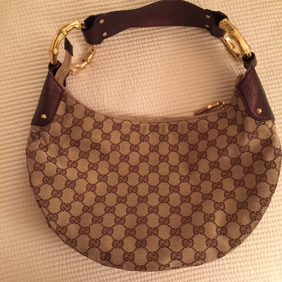 0353533fd54b9 Gucci Half Moon Bamboo Ring Hobo Bag