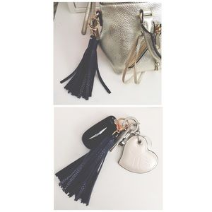 NEW Leather Tassle Handbag / Keychain Charm