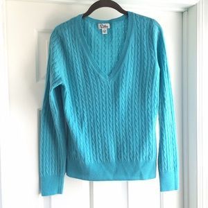 Lilly Pulitzer aqua cashmere cable sweater