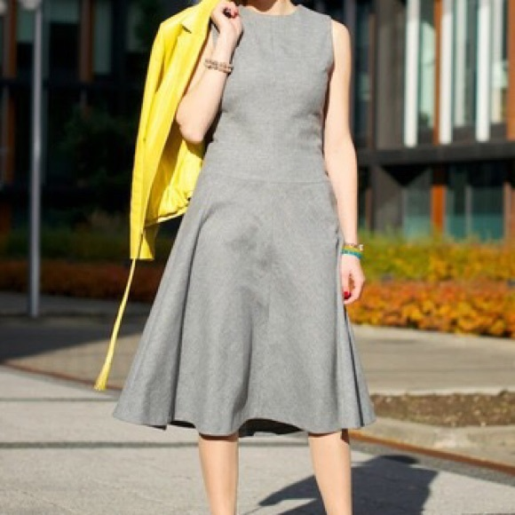 Zara timeless gray wool shift flare dress