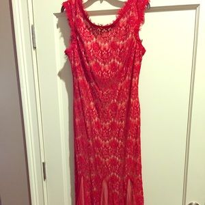 Red and tan lace formal long dress