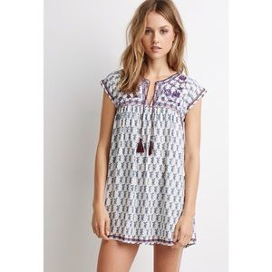 NEW Embroidered Peasant Mini Dress