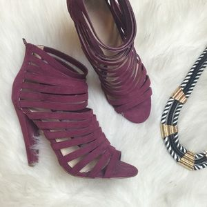 ASOS Shoes - Burgundy Faux Suede Strappy Heels