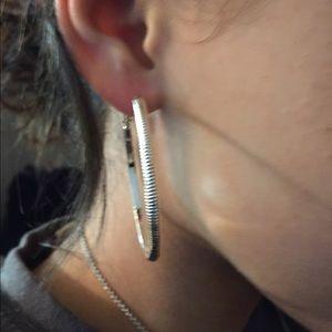 RESL S/S 925, BN-WOB 6cm Dia. Cut Hoops Earrings
