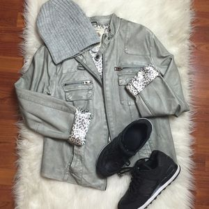 Jackets & Blazers - Grey Faux Leather Jacket