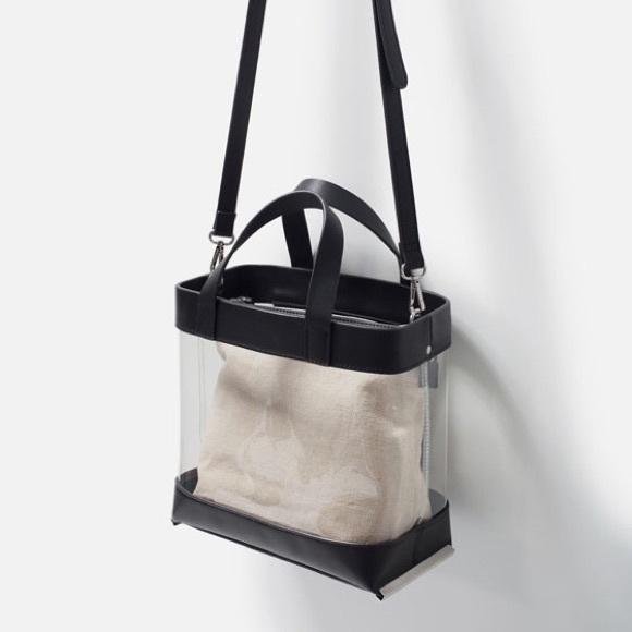 Zara Bags Nwt Vinyl Clear Tote Bag Poshmark