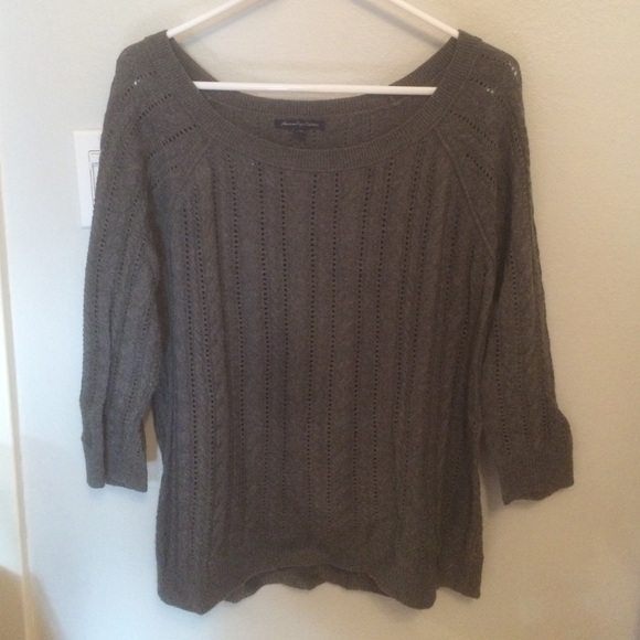 80% off American Eagle Outfitters Sweaters - American Eagle Grey Cable Knit S...