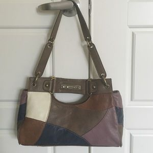 Kathy Van Zeeland Handbags - Small leather patchwork bag.