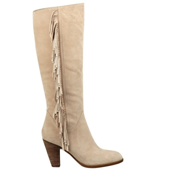 86 guess shoes guess suede fringe knee high boots