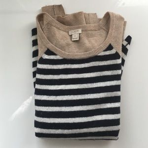 J.Crew Factory Sweaters - J.Crew Factory striped sweater with elbow patches!
