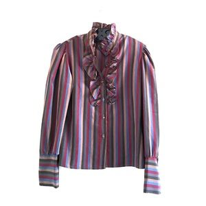 VINTAGE 70s Striped Long Sleeve Blouse Shirt Top