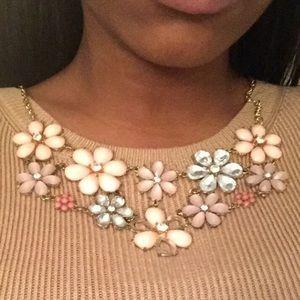 Pink flower bib necklace 