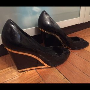 BCBG Max Azria Patent Leather peep toe wedges