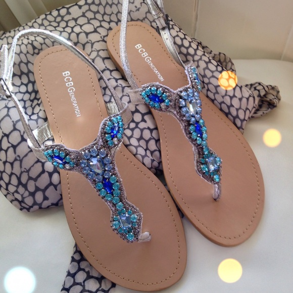 905b58051 BCBG ocean blue jeweled sandals