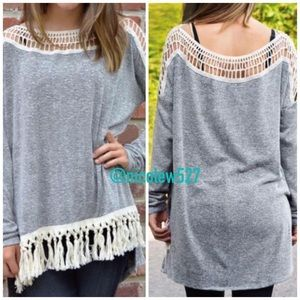 Only Small and Medium Left! Grey Tassel Top